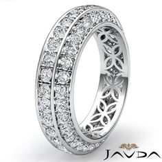 Trio Pave Set Round Diamond Wedding Womens Eternity Band Platinum Ring 1 75ct   eBay