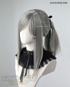 [Kasou Wig] Final Fantasy XV Aranea Highwind warm gray pre-styled ponytail cosplay wig