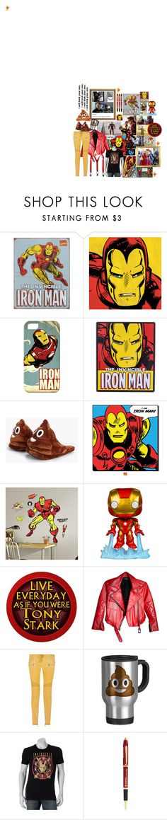 """· TONY STANK ·"" by starkindustrees ❤ liked on Polyvore featuring Reactor, Marvel Comics, Casetify, Boohoo, RoomMates Decor, Funko, Balmain, Marvel and Cross"