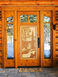 Beautiful wood door, perfect for the mountain home
