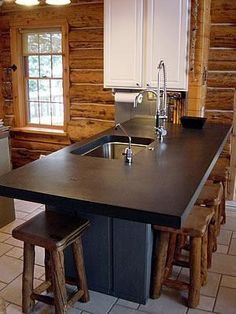 Black, Matte Concrete Countertops Two Stones Design Bettendorf, IA