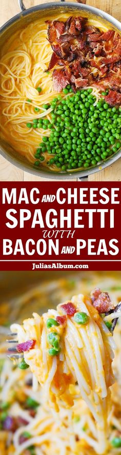 Mac and Cheese Spaghetti with Bacon and Peas (in a flavorful cheddar sauce). - made this got kids approval , next time add one more cup of pasta water to sauce Pasta Dishes, Food Dishes, Main Dishes, One Pot Meals, Easy Meals, Cheese Spaghetti, Good Food, Yummy Food, 30 Minute Meals