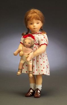 """Milly"" - R. John Wright - Collector Club Edition - Milly 11 1/2 inches, - All felt; Fully jointed; hand painted features; mohair wig; sailor dress; rag doll; Ltd. to current Club year."