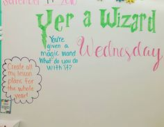 Done- Wizard Wednesday whiteboard message Daily Writing Prompts, Writing Ideas, Morning Board, Morning Activities, Bell Work, Responsive Classroom, Classroom Community, Morning Messages, Journal Prompts