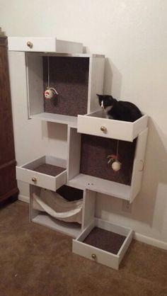 DIY Cat Tree #repurposedfurniture #catsdiybed