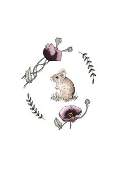 - Art print featuring a field mouse within a garland- Hand painted watercolour design- Size A4- Matte Archival Paper 189gsm- Frame Not Included