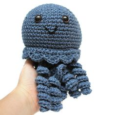 Large Wool Crochet Baby Jellyfish Plush Toy in by CrayonJungle, $25.00