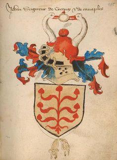 """Jehan, seigneur de Crequy et de Canaples (f°136), from """"Chronique des comtes de Hollande depuis les origines jusque 1415"""", EHC Ms B 89420 -- Lien pérenne : http://anet.be/digital/opacehc/ehc/o:lvd:1072220/E"""