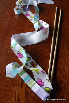 DIY Dancing Ribbon Wands - easy to make, and my kids are absolutely loving them. Music For Kids, Yoga For Kids, Diy For Kids, Crafts For Kids, Rainbow First Birthday, Dance Party Birthday, Minneapolis Kids, Program Maker, Ribbon Wands