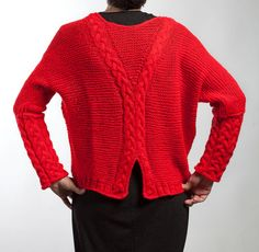 Hand knit Cardigan Size: M Color: Red Material: pure wool