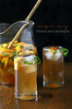 Spicy Hibiscus Peach Tea Sangria