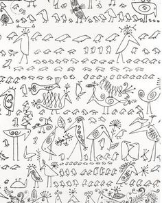 Schumacher's Saul Steinberg Aviary Wallpaper is $114.50 per roll ($7 for a sample) at Decorator's Best.