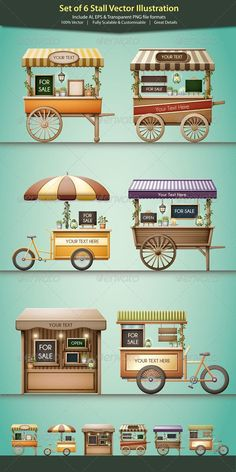 Stall Vector Illustration - Commercial / Shopping Conceptual Stall-Vektor-Illustration - Werbung / E Kiosk Design, Cafe Design, Store Design, Food Trucks, Food Cart Design, Food Truck Design, Food Stall Design, Vendor Cart, Bike Food