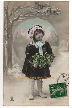 Carte postale ancienne | Bonne Année | Fillette | Manteau | Neige | 1912