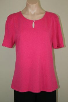 NEW Blooingdale's Ultra Soft Pink Cashmere Keyhole Pullover Sweater size L #Bloomingdales #Keyhole