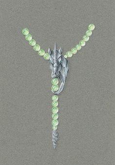 Tony FURION  Unicorn Necklace Collier licorne dessin de bijou gouaché joaillerie jewellery drawing