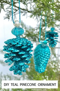 It's easy to make a stunning teal pinecone ornament! Painted pinecone ornaments can be matched to your Christmas decor in any color you wish using metallic craft paint. Glue on a bead and add string for a pretty handmade ornament! Easy DIY with helpful images. Pinecone Ornaments, Handmade Ornaments, Diy Christmas Ornaments, Holiday Crafts, Christmas Decorations, Glitter Ornaments, Homemade Christmas, Beaded Ornaments, Christmas Ideas