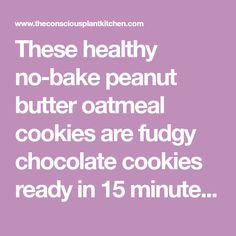 These healthy no-bake peanut butter oatmeal cookies are fudgy chocolate cookies ready in 15 minutes and full of nourishing ingredients to start the day. Peanut Butter Jar, Peanut Butter Oatmeal, Oatmeal Chocolate Chip Cookies, Creamy Peanut Butter, Peanut Butter Cookies, No Bake Granola Bars, Raw Cookie Dough, Paleo, Keto