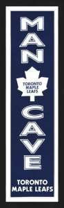 Framed Toronto Maple Leafs Man Cave banner.