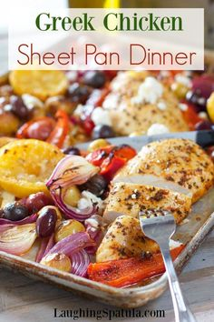 Sheet Pan Chicken Dinner Chicken and Fresh Veggies all tossed together in an easy and big flavored marinade. via and Fresh Veggies all tossed together in an easy and big flavored marinade. Greek Recipes, Whole 30 Recipes, Greek Chicken Recipes, Baked Greek Chicken, Fresh Chicken, Roasted Chicken, Healthy Chicken, Cocina Light, Tofu Stir Fry
