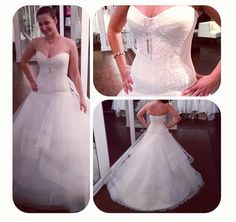 Solutions Bridal manager wearing a lace fitted top with flared tulle skirt by @Rivini - Rita Vinieris - Rita Vinieris - Rita Vinieris . To learn more about this dress, visit www.solutionsbridal.com