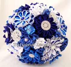 Fabric Wedding Bouquet Brooch bouquet Cornflower blue by LIKKO