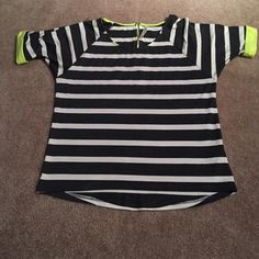 Boutique Top brand new without tags This top is super cute, soft, and comfortable. It is grey and white striped with neon yellow accent cuffs and zipper. Promesa Tops Blouses