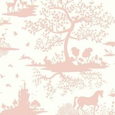Dwell Studio Baby and Kids Fable Pink Wallpaper - Dimensions: Inches Wide x 33 Feet Long = Approximately 56 Square Feet - Prepasted, Washable, Completely Removable York Wallcoverings - Toile Wallpaper, Forest Wallpaper, Kids Wallpaper, Wallpaper Roll, White Glitter Wallpaper, Stripped Wallpaper, Black And White Wallpaper, Triangle Rose, Tela