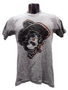 OSU O-State Shadow T-Shirt  This Chris' EXCLUSIVE design features Pistol Pete's alter ego shadow design. Screen printed on the Tri-Blend Track shirt by American Apparel. This shirt has added stretch resulting in an authentic interpretation of those worn-in T-shirts