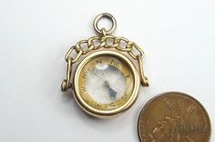 ANTIQUE ENGLISH 9 CARAT GOLD COMPASS SPINNER FOB / CHARM / PENDANT c1900