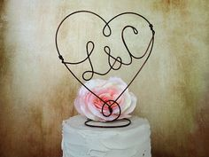 Personalized - HEART - Copper Wire Cake topper with your Initials - Cake Topper, Weddings, Table Center Piece on Etsy, $28.43 CAD