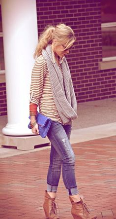 Cuffed jeans, booties, stripes with long infinity scarf..... click on picture to see more