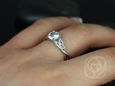 a6af53ac4 6mm Round White Sapphire Celtic Love Knot Triquetra Engagement Ring, 14kt  Solid White Gold Cassidy 6mm,Rosados Box