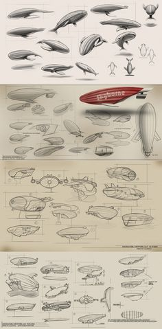 airship design illustration - love the organic shark/style Steampunk Airship, Dieselpunk, Les Inventions, Drawing Sketches, Drawings, Sketching, Industrial Design Sketch, Character Design References, Sketch Design