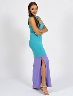 Diligo aqua / purple colour block maxi dress with side slit | www.diligo.co.za Colour Block, Color Blocking, Aqua, Teal, Purple, Spring Summer, Fashion Design, Shopping, Collection