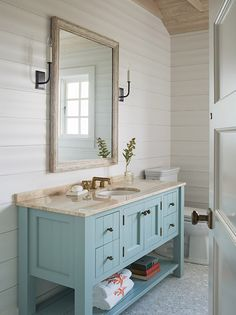 Turquoise Bathroom Vanity, Cottage, Bathroom, Dearborn Builders
