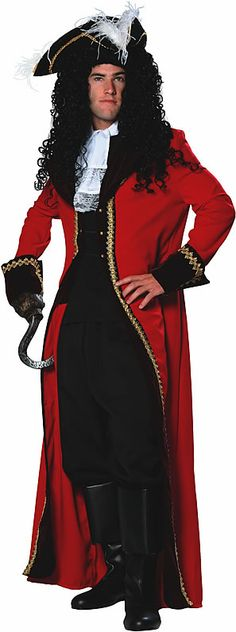 "Hook - a ladies red coat (thrift shop) with gold trim, 1/2 yard of 4""lace for ruffle, sew a ""vest"" onto a tshirt"