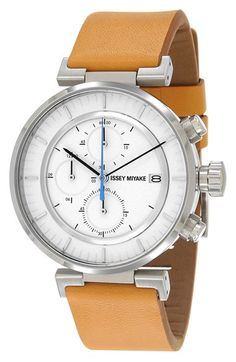 Issey+Miyake+'W'+Chronograph+Leather+Strap+Watch,+43mm+available+at+#Nordstrom