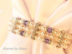 Swarovski White Pearl Cuff Bracelet Bridal Triple Strand Crystal Tanzanite Blue Buckle Vintage Inspired Wedding Bride or Bridesmaid Gift