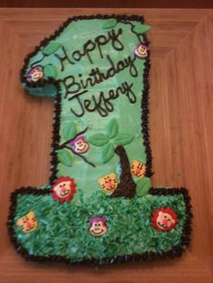 1st Birthday Cake with a zoo theme.