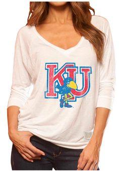 Kansas (KU) Women's V-Neck White Shirt