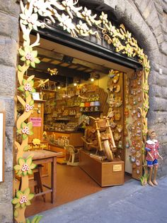 Wooden toymaker's shop in Florence, Italy...note Pinocchio!