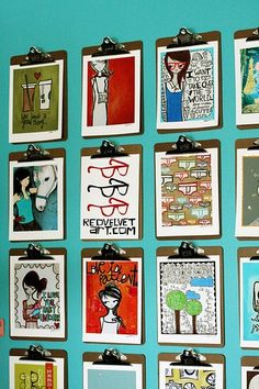 clipboard wall art :) Perfect idea for a prolific artist. And displaying your kids' art too.