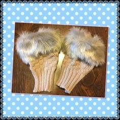 Winter faux rabbit fur wrist fingerless gloves Light coffees ( tan ) color arm warmer faux rabbit hair and knitted wool soft and comfortable to wear brand new in bag price is firm unless you bundle  5 pairs available Accessories Gloves & Mittens