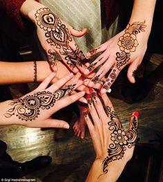 The power of friendship: The 20-year-old raved about reuniting with her pals with an image of their henna tattooed hands on Wednesday