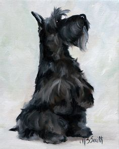 NEEDLEPOINT CANVAS PRINT Scottie Scottish Terrier Dog art painting by Mary Sparrow of Hanging the Moon Studio