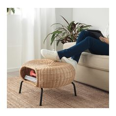 GAMLEHULT Footstool with storage, rattan, anthracite. Made of hand-woven rattan, a living material that makes each footstool unique. You can also use it as extra seating or hidden storage under the seat. Rattan Ottoman, Rattan Furniture, Handmade Furniture, Furniture Design, Furniture Storage, Plywood Furniture, Chair Design, Design Design, Windows