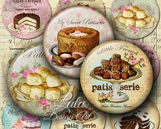 Patisserie - 2 inch circles, Digital Collage Sheet, Round Images, Pendant Images, Circle Images, Instant Download, Cupcake Image