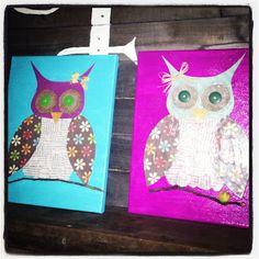DIY Owl canvas-Paint your canvas and assemble scrapbook paper/burlap/buttons etc and modge podge them down!