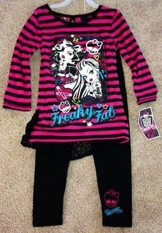 Monster High Girl's Outfit. I bought this at the store for my daughter. I paid $12.95 for it. She loves it. It's so cute. The back has black lace. It's adorable. Found her some mh jeans and some long shirts too for winter. Then off to Guess we went to get the rest of her clothes. All she wears is mh and Guess. She gets the Guess from me. The blonde in the pic.